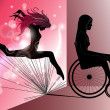 Stock Vector: Sad Womin wheelchair with Jumping girl's shadow