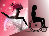 Sad Woman in wheelchair with Jumping girl's shadow — Stock Vector