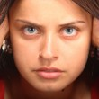 Young girl with expression face — Stock Photo