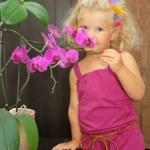 Girl smell orchidea — Stock Photo