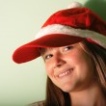 Teen girl with Santa — Stock Photo