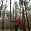 Young alone women in  forest — Stockfoto