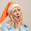 Scared girl with Santa - Foto Stock