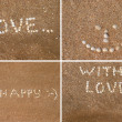 Inscriptions on beach — Stock Photo #12714546