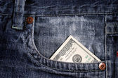 100 dollar bill in pocket — Stock Photo