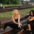 Beauty girl sitting on railroad track — Stock Photo #30433923