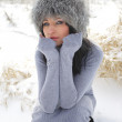 Nice girl in the winter landscape outdoor — Stock Photo