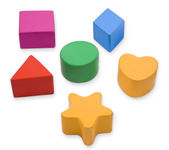 Wooden color blocks and shapes — Stock Photo
