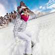 Stock Photo: Snowboarding
