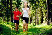 Jogging in forest — Stock Photo