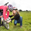 Cycling girls — Stock Photo
