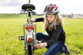 Cycling girl — Stock Photo