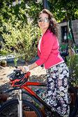Radfahren frau — Stockfoto