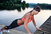 Jogging at lake — Stock Photo