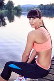 Jogging al lago — Foto Stock