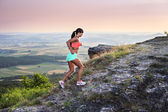 Running to the peak — Stock Photo