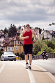 Jogging in the city — Stockfoto