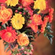 Bunch of gerberas and roses — Stock Photo