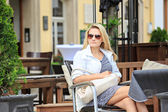 At a sidewalk cafe — Stock Photo