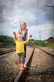 Children on railway — Stock Photo