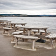 Stock Photo: Picnic tables
