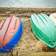 Upturned boats — Stock Photo