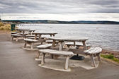 Picnic tables — Stock Photo