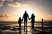 在海岸的家庭 — 图库照片