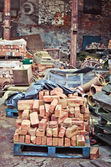 Bricks in scrap yard — Stock Photo