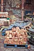 Bricks in scrap yard — Stock Photo