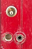 Red door lock — Stock Photo