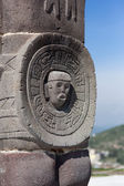 Toltec warriors. Detail. Ancient ruins of Tula de Allende — Stock Photo