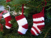 Crochet christmas decoration — Stock Photo