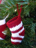 Crochet christmas stockings — Stock Photo