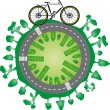 Green world and bike — Stock Vector