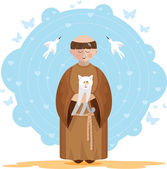 St. Francis of Assisi with kitten — Stock Vector