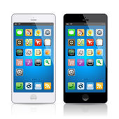 Black & white mobile phone, vector — Stock Vector