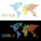 Cinq continents, carte du monde, illustration vectorielle — Vecteur