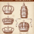 Stock Vector: Hi Detail Antique Crown Illustration Set