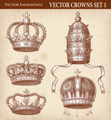 Hi Detail Antique Crown Illustration Set — Stock Vector