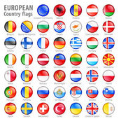 European National Flag Buttons Set — Stock Vector