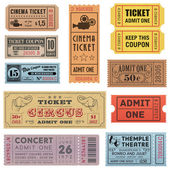 Grunge Vector Tickets Collection 1 — Stock Vector