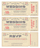 Vector Wedding Invite Tickets — Stock Vector