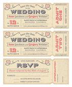 Vector Wedding Invite Tickets — Stock Vector