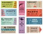 Grunge Vector Tickets Collection 3 — Stock Vector