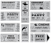 Grunge Vector Grayscale Tickets Collection 3 — Stock Vector