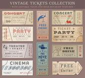 Vector Grunge Cinema tickets — Stock Vector