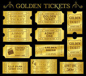 Golden Vektor Ticket Vorlagen — Stockvektor