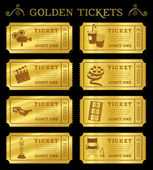 Golden Vector Cinema Tickets — Stock Vector