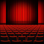Kırmızı perdeleri tiyatro sahne — Stok Vektör